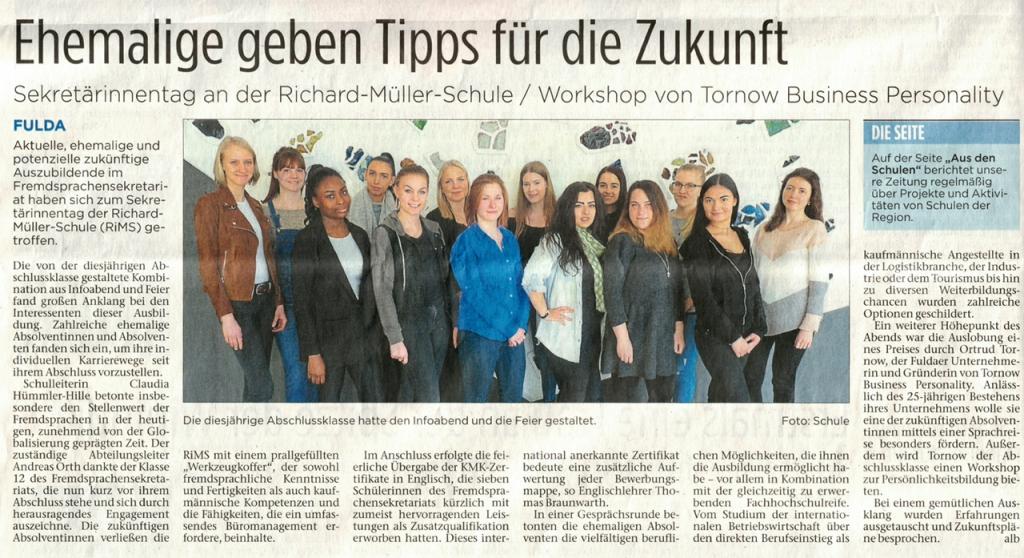 Bericht in der Fuldaer Zeitung zum Sekretärinnentag in der Richard-Müller-Schule Fulda